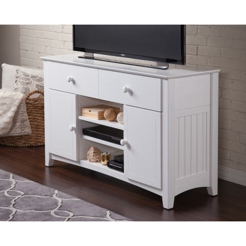 Atlantic Nantucket White 2-drawer Entertainment Console With Adjustable Shelves - 50 inches