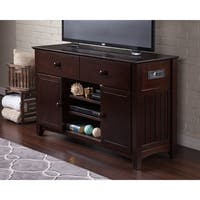 Atlantic Nantucket Espresso 2-drawer Entertainment Console with Adjustable Shelves and Charging Station