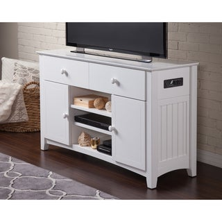Atlantic Nantucket White Wood 50-inch 2-Drawer Entertainment Console
