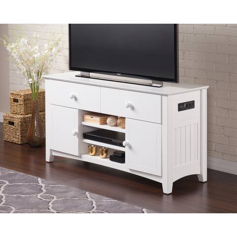 Atlantic Nantucket White Wood 50-inch 2-drawer Entertainment Console with Adjustable Shelves and Charging Station