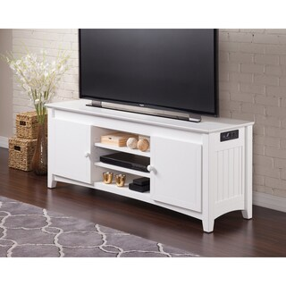 Atlantic Nantucket Mission-style White-finished Wood 60-inch Entertainment Console With Adjustable Shelves and Charging Station