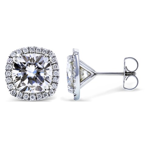 Annello by Kobelli 14k White Gold 6 Carats TGW Moissanite (FG) and Diamond (GH, I1-I2) Halo Formal Stud Earrings