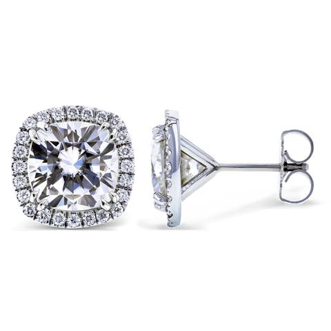 Annello by Kobelli 14k White Gold 6 Carats TGW Moissanite (FG) and Diamond (GH, I1-I2) Halo Formal Stud Earrings