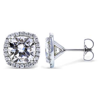Annello by Kobelli 14k White Gold 6 Carats TGW Moissanite (FG) and Diamond (GH, I1-I2) Halo Formal Stud Earrings|https://ak1.ostkcdn.com/images/products/14012753/P20634176.jpg?impolicy=medium