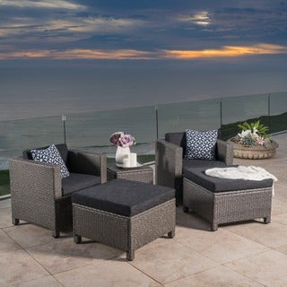 Puerta 5 Piece Outdoor Wicker Chat Set With Water Resistant Cushions By  Christopher Knight Home