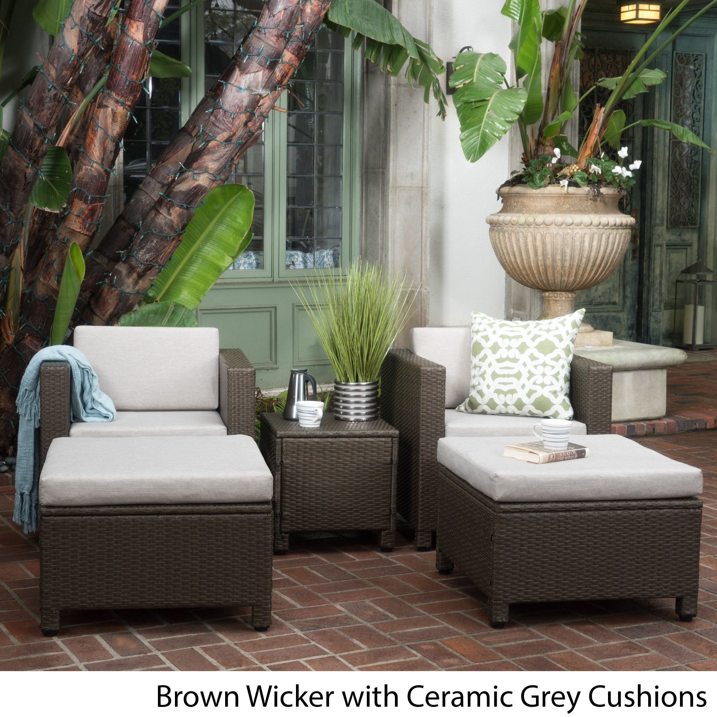 Puerta 5-piece Outdoor Wicker Chat Set with Water Resistant Cushions by Christopher Knight Home (3 options available)