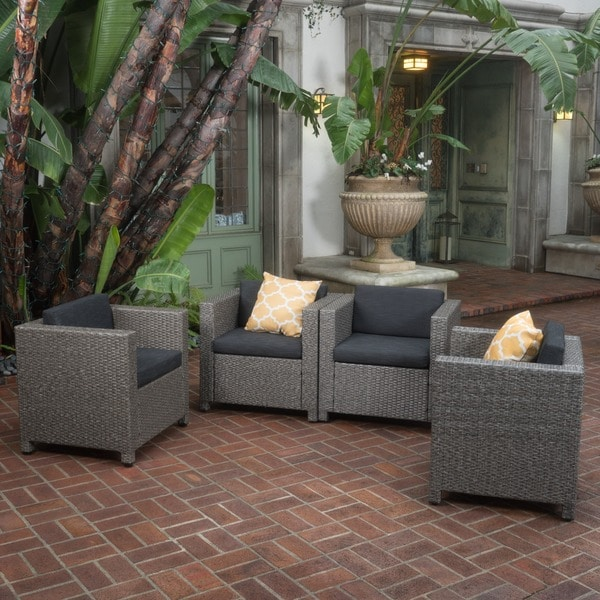 Puerta Outdoor Club Chairs with Water Resistant Cushions (Set of 4) by Christopher Knight Home