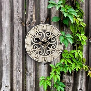 La Crosse Clock BBB86491 14 Inch Antiqued White Cast Iron Indoor/Outdoor Wall Clock