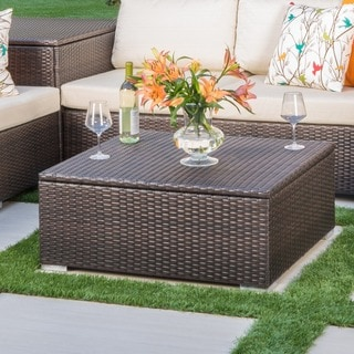 Santa Rosa Outdoor Wicker Coffee Table with Storage by Christopher Knight Home