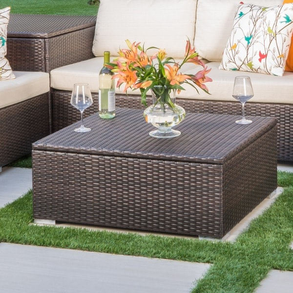 Shop Santa Rosa Outdoor Wicker Coffee Table With Storage