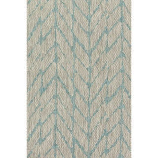 Indoor/ Outdoor Havannah Mist/ Aqua Abstract Chevron Rug (2'2 X 3'9)