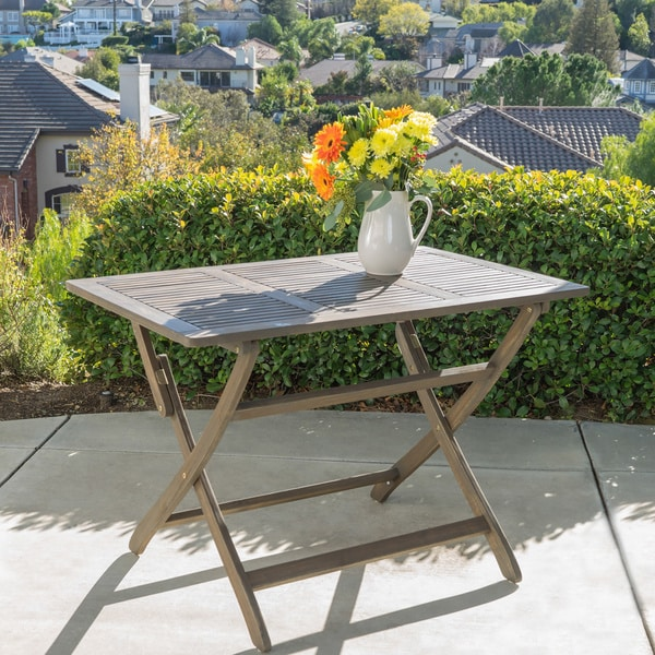 positano outdoor acacia wood folding dining table by christopher, Dining tables