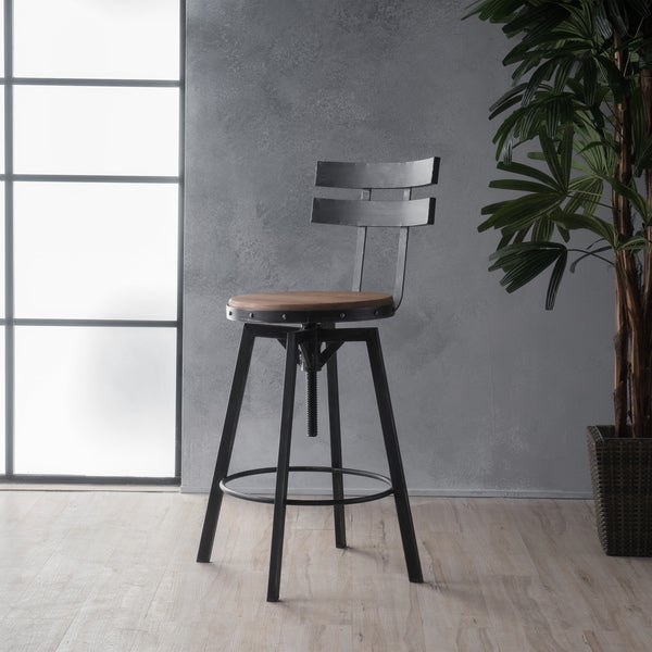 Jutte 39 Inch Adjustable Backed Iron Barstool By