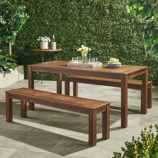 Link to Manila Outdoor 3-piece Acacia Wood Rectangle Picnic Dining Set by Christopher Knight Home Similar Items in Patio Furniture