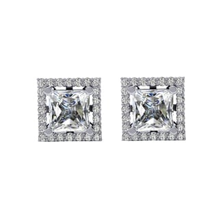 14k White Gold 7/8ct TDW Round White Diamond Square Earrings (H-I, I1-I2)