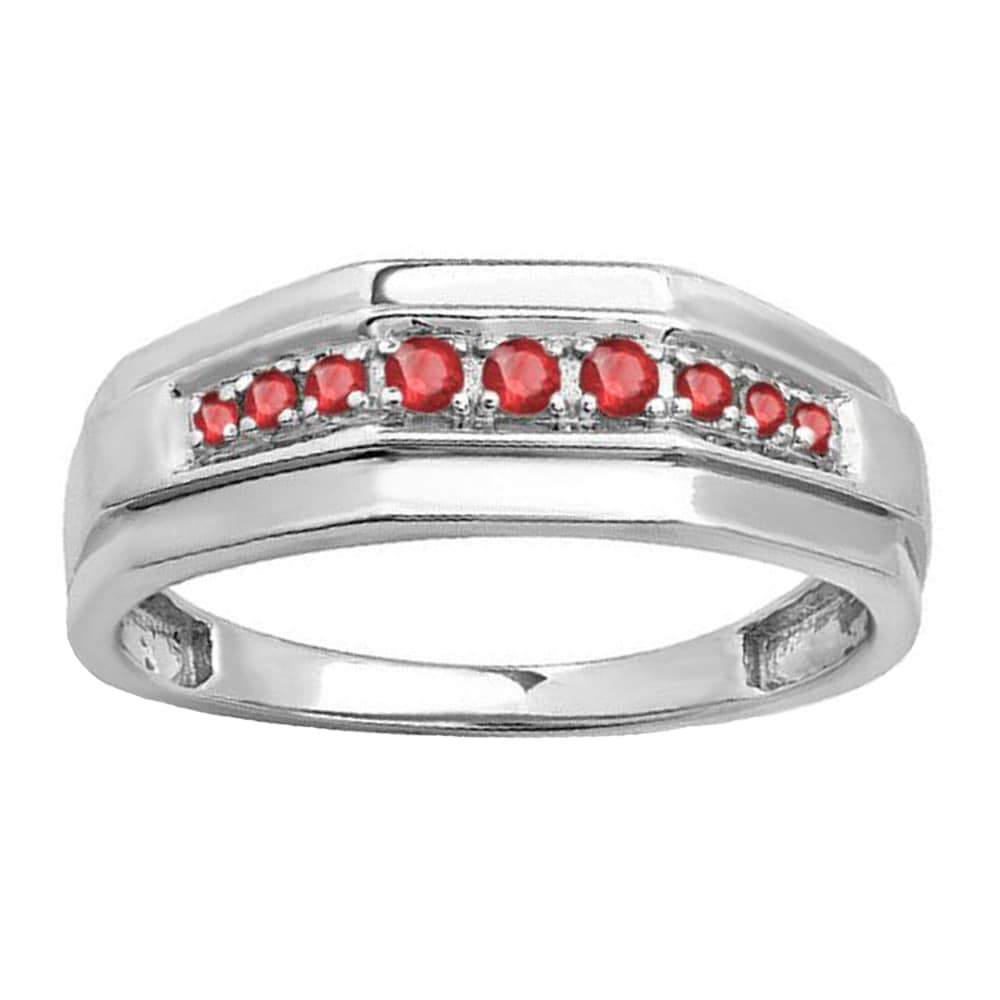 Shop Sterling Silver Men S 1 4ct Tw Round Cut Ruby Wedding