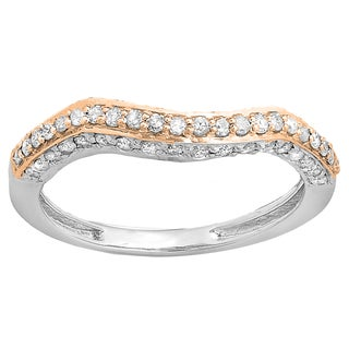 14k Two-tone Gold 3/8ct TDW Round Diamond Contour Stackable Ring (I-J, I1-I2)