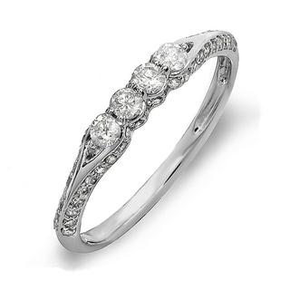 18k Gold 3/8ct TDW Round Diamond Anniversary Wedding Band Stackable Ring (H-I, I1-I2)