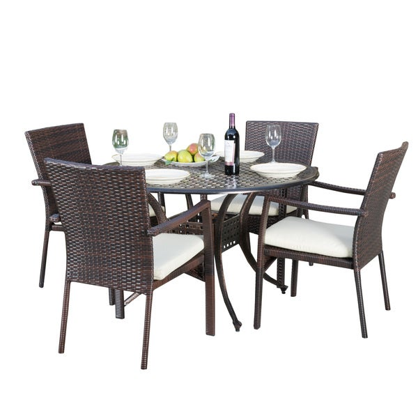 Emerald Outdoor 5-piece Round Dining Set with Cushions by ...