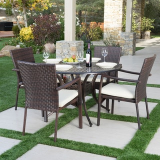 Emerald Outdoor 5-piece Round Dining Set with Cushions by Christopher Knight Home