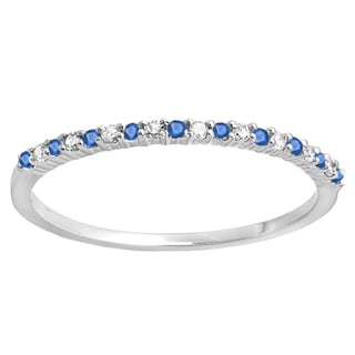 14K White Gold 1/6 ct. Round Blue Sapphire & White Diamond Ladies Wedding Stackable Band (I-J & Blue, I2-I3 & Highly Included)