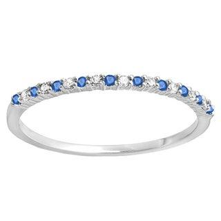 18k White Gold 1/6ct TW Round Blue Sapphire and Diamond Wedding Band (I-J, I2-I3 )