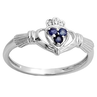 18k Rose Gold 1/6ct TW Round Diamond and Blue Sapphire Promise Irish Love Ring (I-J, I2-I3)