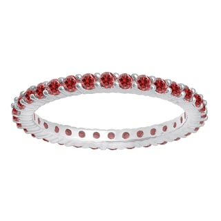 14k White Gold 1ct TW Round Ruby Eternity Stackable Wedding Band