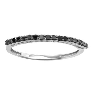 Sterling Silver 1/4ct TDW Round Black Diamond Anniversary Stackable Band