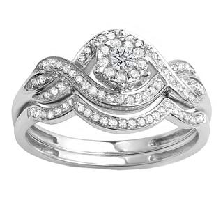18K Gold 3/8 ct. TDW Round Diamond Ladies Bridal Engagement Ring Matching Band Set (H-I, I1-I2)