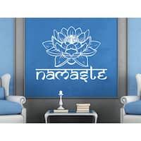 Namaste Vinyl Sticker Decals Lotus Flower Yoga Buddha Home Decor Art  ticker Decall size 44x60 Color Black