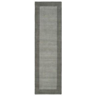 """Borders Grey Hand-Tufted Wool Rug - 2'6"""" x 8'9"""""""