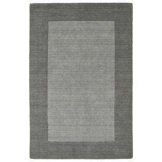 """Borders Grey Hand-Tufted Wool Rug - 5' x 7'9"""""""