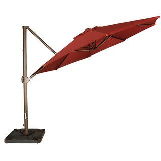 Abba Patio 11-Feet Offset Cantilever Umbrella Outdoor Patio Hanging Umbrella with Cross Base, Red (Option: Red)