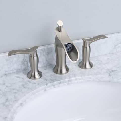 EVIVA Swan Luxury Water-fall Widespread Three-Hole (2 Handles) Bathroom Sink Faucet (Brushed Nickel)