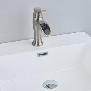 EVIVA Swan Luxury Water-fall Single Handle (Lever) Bathroom Sink Faucet (Brushed Nickel)