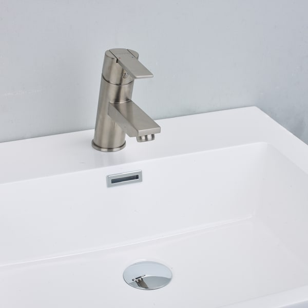 EVIVA Midtown Single Handle (Lever) Bathroom Sink Faucet (Brushed ...