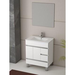 Eviva Piscis 32-inch Integrated Porcelain Single Sink White Bathroom Vanity