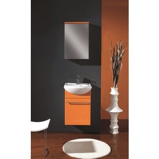 Eviva Venti 18-inch Integrated Porcelain Single Sink Orange Wall-mount Bathroom Vanity