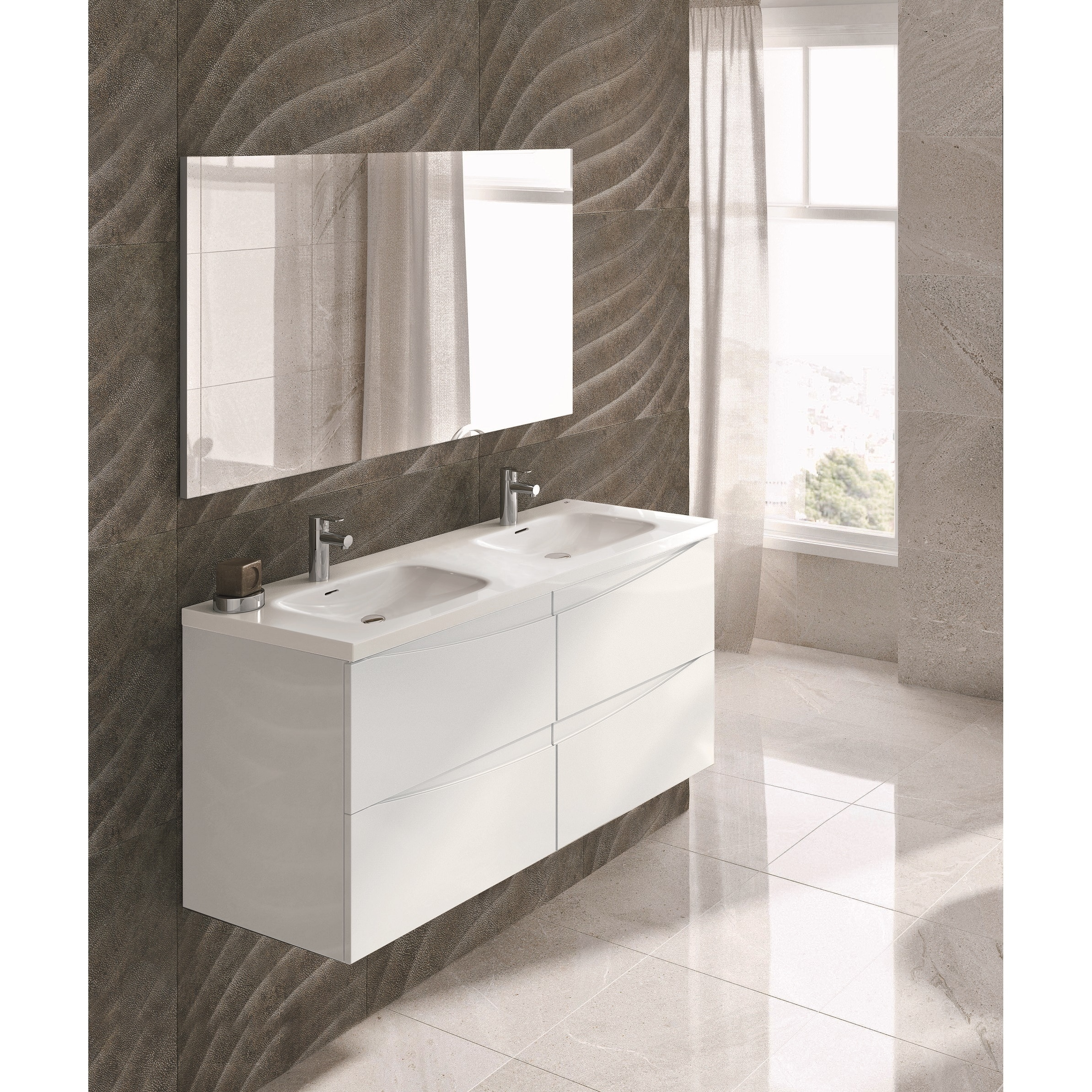 Shop Eviva Rome 48 Inch Integrated Porcelain Double Sink White Bathroom Vanity Overstock 14023831