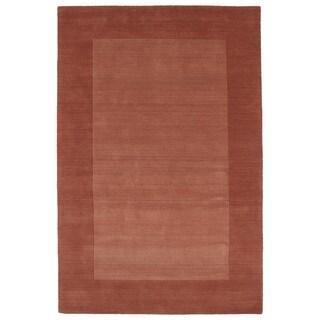 Borders Salmon Hand-Tufted Wool Rug - 8' x 10'