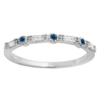 10k Gold 1/4ct TDW Round and Baguette-cut Blue and White Diamond Wedding Band (H-I, I2-I3)