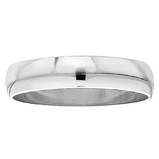 Unisex High-polish 14k White Gold 6-millimeter Plain Domed Traditional-fit Ring Wedding Band