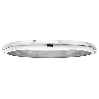 Unisex 10k White Gold 2-millimeter Plain Domed Traditional-fit Ring Wedding Band