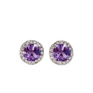 14k White Gold 1/2ct TW Round Purple Amethyst and Diamond Accent Halo Style Stud Earrings (I-J, I2-I3)