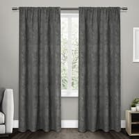 ATI Home Elle Jacquard Chenille Rod Pocket Top Curtain Panel Pair