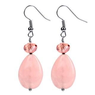 Sterling Silver 11.64ct Rose Quartz Dangling Earring