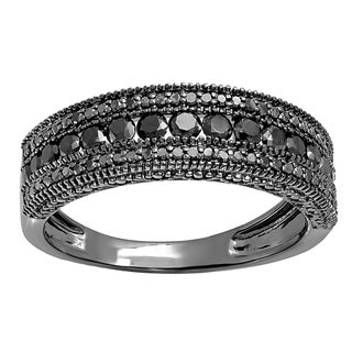 10k black gold mens 1 15ct tdw round cut black diamond wedding milgrain stackable band - Mens Black Diamond Wedding Rings