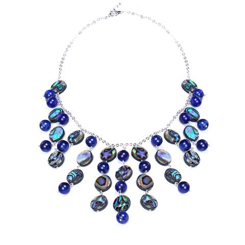 Sterling Silver 49ct Lapis and Abalone Statement Necklace