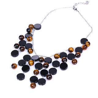 Sterling Silver 71.80 Ct Tiger Eye & Onyx Statement Necklace